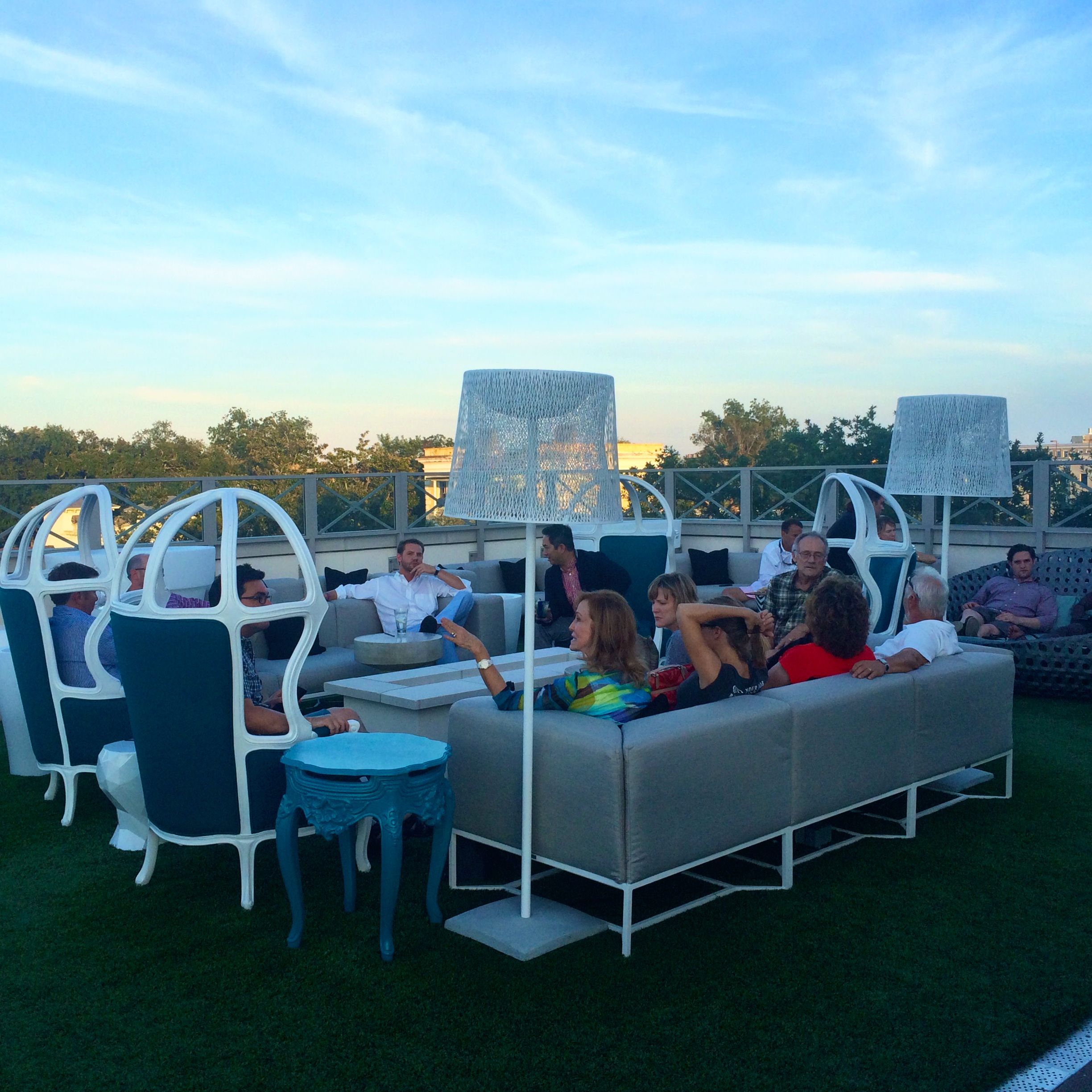 The Rooftop Bar at Elevé with comfy seating and great views